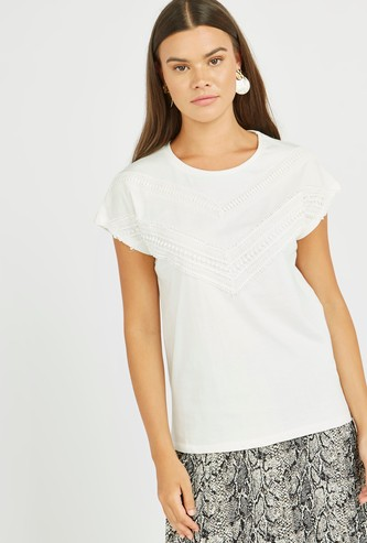 Embroidered T-shirt with Round Neck and Short Sleeves