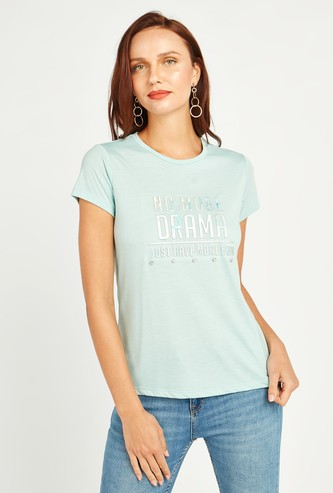 Embossed Foil Print T-shirt with Round Neck and Short Sleeves
