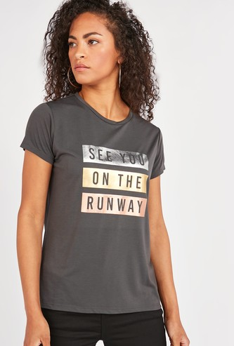Slogan Foil Print Round Neck T-shirt with Short Sleeves
