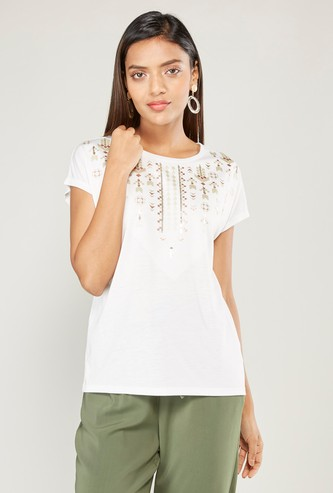 Embellished Round Neck Top with Short Sleeves