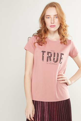 Printed T-shirt with Round Neck and Pearl Embellishments