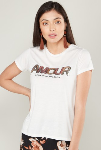 Typographic Print T-shirt with Short Sleeves and Sequin Detail