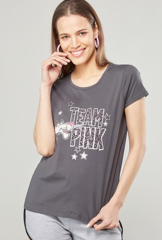 Pink Panther Print Round Neck T-shirt with Short Sleeves