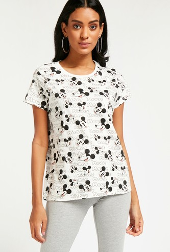 All-Over Mickey Mouse Print T-shirt with Cap Sleeves