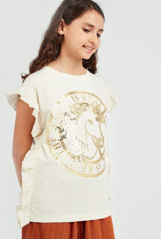Printed T-shirt with Short Sleeves and Sequin Detail
