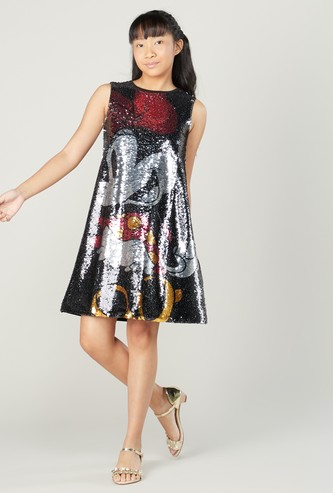 Minnie Mouse Sequin Detail Sleeveless Dress