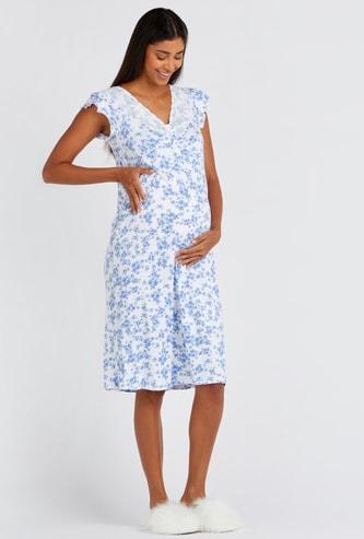 Maternity Floral Print Sleeveless Sleepdress