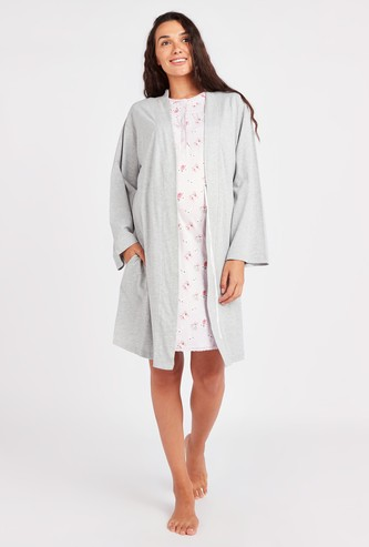 Maternity Printed Round Neck Sleep Dress with Robe