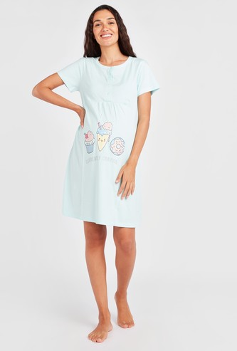 Graphic Print Maternity Sleepshirt with Short Sleeves