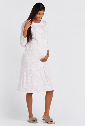 Maternity Printed Sleepdress with 3/4 Sleeves