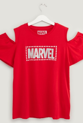 Marvel Print Cold Shoulder T-shirt with Round Neck
