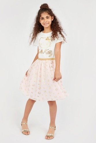 Hello Kitty Print Dress with Round Neck and Short Sleeves