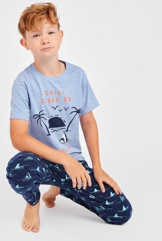 Beach Print Short Sleeves T-shirt and Pyjamas Set