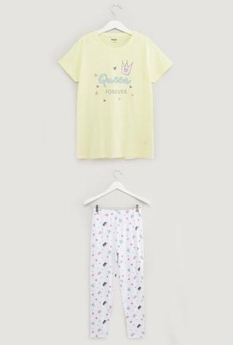 Printed Round Neck T-shirt and Pyjama Set