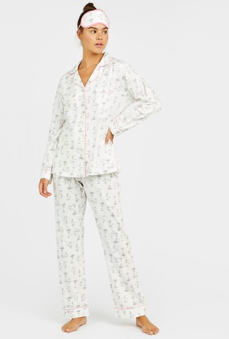 Print 3-Piece Nightwear Set with Reversible Eye Mask