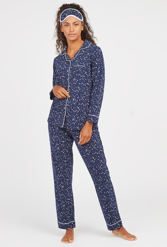 Constellation Print 3-Piece Sleepwear Set with Eye Mask