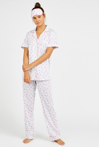 Heart Print 3-Piece Nightwear Set with Reversible Eye Mask