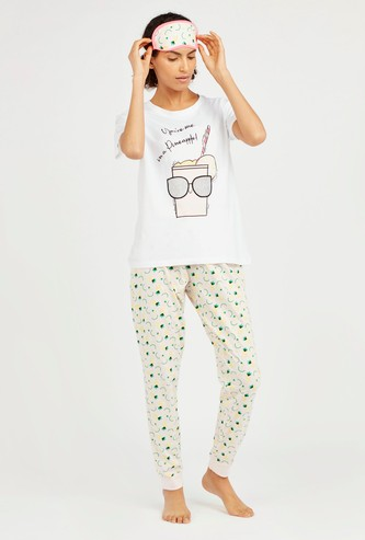 Graphic Print 3-Piece Sleepwear Set with Reversible Eye Mask