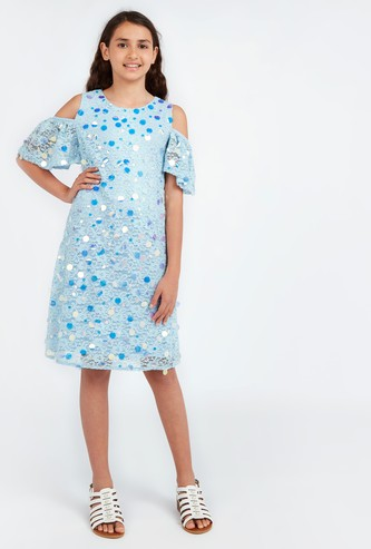 Lace Dress with Cold Shoulder Sleeves and Paillette Detail