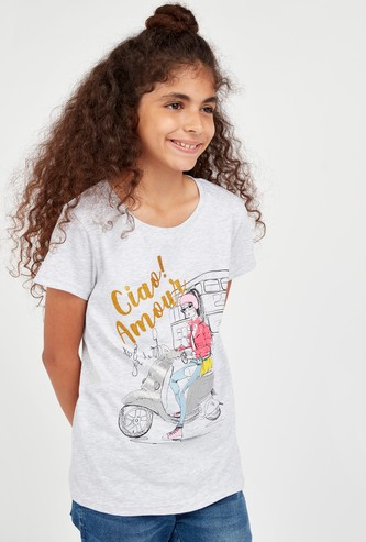 Amour Girl Print T-shirt with Short Sleeves