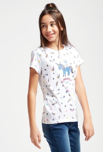 Unicorn Graphic Print T-shirt with Cap Sleeves and Round Neck