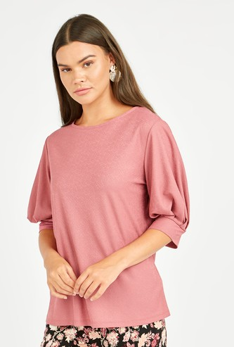 Textured Top with Round Neck and Puffed Sleeves