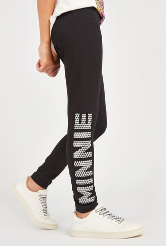 Minnie Mouse Print Leggings with Elasticised Waistband