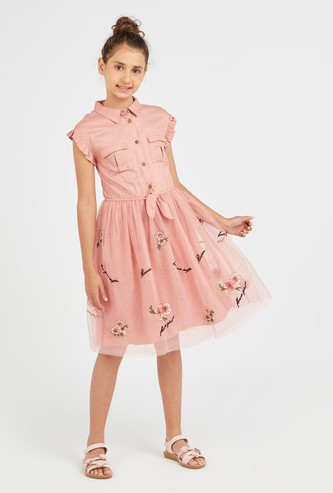 Embroidered Dress with Cap Sleeves and Knot Detail