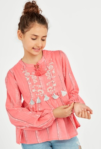 Embroidered Top with Bishop Sleeves and Tie Ups