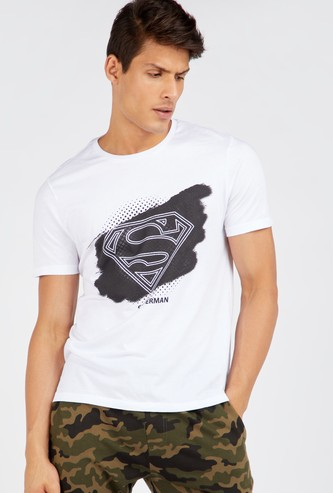 Superman Logo Print Round Neck T-shirt with Short Sleeves