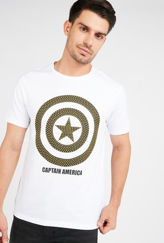 Captain America Printed Round Neck T-shirt with Short Sleeves