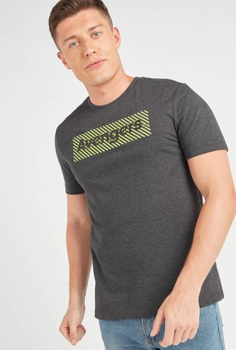 Avengers HD Striped Logo Print Round Neck T-shirt with Short Sleeves