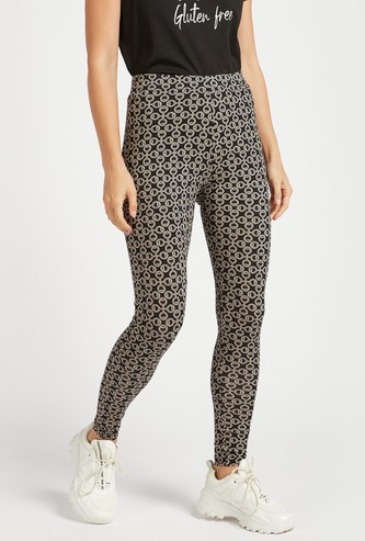 Printed Full Length Mid Rise Leggings with Elasticated Waistband