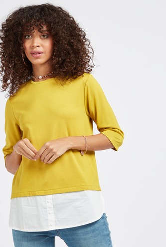 Solid Round Neck Two-in-One Knitted Top with 3/4 Sleeves