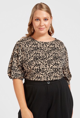 All-Over Print Top with Round Neck and Volume Sleeves