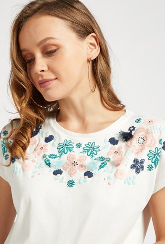 Embroidered Detail T-shirt with Cap Sleeves and Tassels