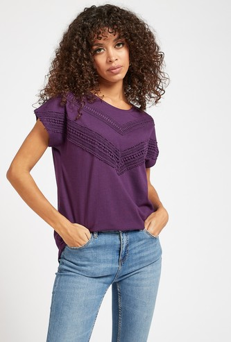 Lace Detail T-shirt with Round Neck and Cap Sleeves