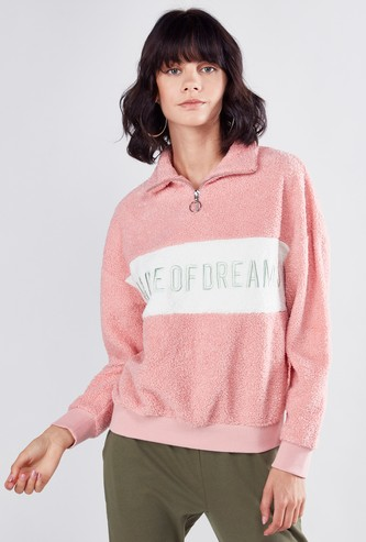 Embroidered Sweat Top with Long Sleeves and Zip Detail
