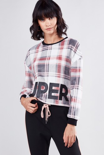 Chequered Crop T-shirt  with Round Neck and Long Sleeves