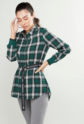 Chequered Shirt Tunic with Spread Collar and Long Sleeves