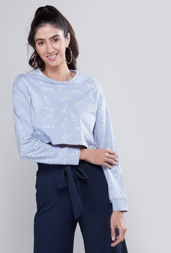 Printed Cropped Sweat Top with Round Neck and Long Sleeves