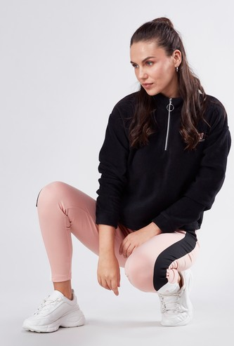 Embroidered High Neck Sweat Top with Zip Closure and Long Sleeves