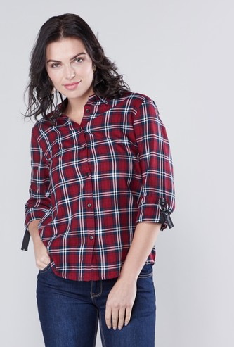 Chequered Shirt with Long Sleeves and Tape Detail
