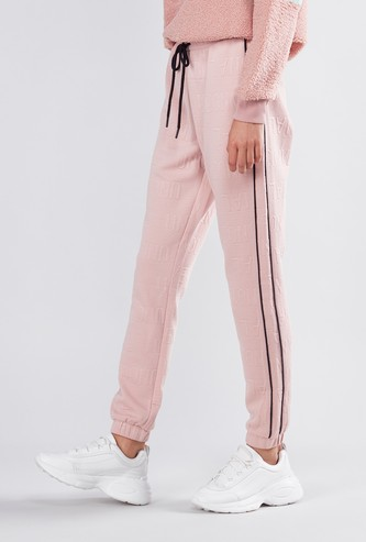 Textured Mid Rise Jog Pants with Tipping Detail and Drawstring