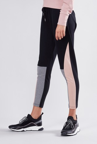 Ankle Length Colour Blocked Jog Pants with Drawstring Closure