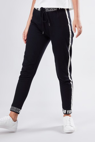 Printed Joggers with Cuffed Hem and Drawstring Closure