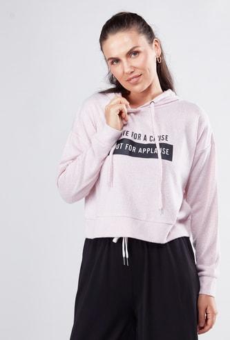 Typographic Print Hooded Sweatshirt with Long Sleeves