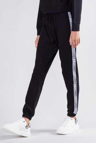 Full Length Mid Rise Jog Pants with Tape Detail and Drawstring