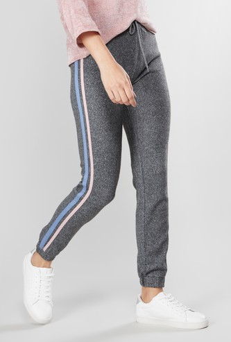 Ankle Length Jog Pants with Contrast Striped Taping