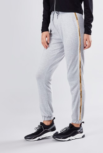 Full Length Mid Waist Jog Pants with Tape Detail and Drawstring